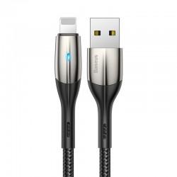 Baseus Horizontal Lightning Cable with LED Lamp 0,5m 2.4A (Black)