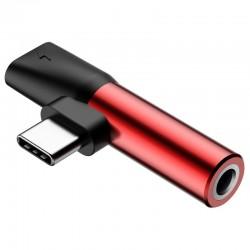 Adapter Audio Baseus L41 USB-C to Mini Jack 3.5mm + USB-C (red)