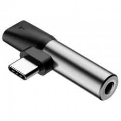 Adapter Audio Baseus L41 USB-C to Mini Jack 3.5mm + USB-C (silver)