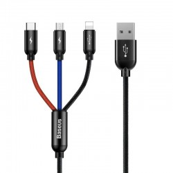 Baseus Rapid USB Cable 3in1 Type C / Lightning / Micro 3A 1,2M - Black