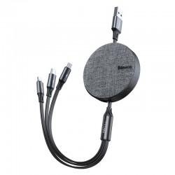 Kabel USB Baseus Fabric 3w1 USB-C / Lightning / Micro 3,5A 1,2m (szary)