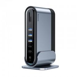 Baseus Working Station Three-Screen Multifunctional Type-C HUB Adapter (Dark gray)