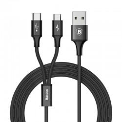 Kabel USB-C Baseus Rapid 2w1 Lightning / Micro 3A 1,2m (czarno-złoty)
