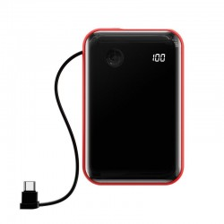 Baseus Mini S Digital Display 3A Power Bank 10000mAh (With Type-C Cable) Red