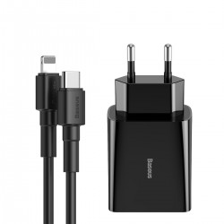 Baseus Charger USB Type C Power Delivery 18 W 3 A + USB Type C Cable - Lightning 2,4 A 1 m Black