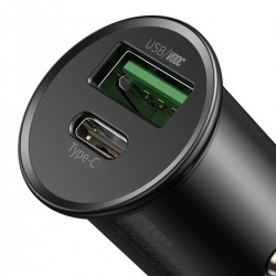 Baseus Circular Metal PPS Quick Charger Car Charger 30W (Support VOOC) Black