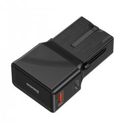 Baseus universal charger, QC 3.0, PD, USB + USB-C, 100-240V, 18W, EU/US/UK/AU (black)
