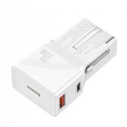 Baseus universal charger, QC 3.0, PD, USB + USB-C, 100-240V, 18W, EU/US/UK/AU (white)