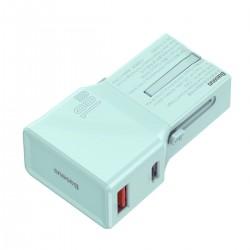 Baseus universal charger, QC 3.0, PD, USB + USB-C, 100-240V, 18W, EU/US/UK/AU (blue)