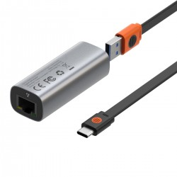Baseus Steel Cannon USB-C - LAN, Gigabit network adapter (grey)