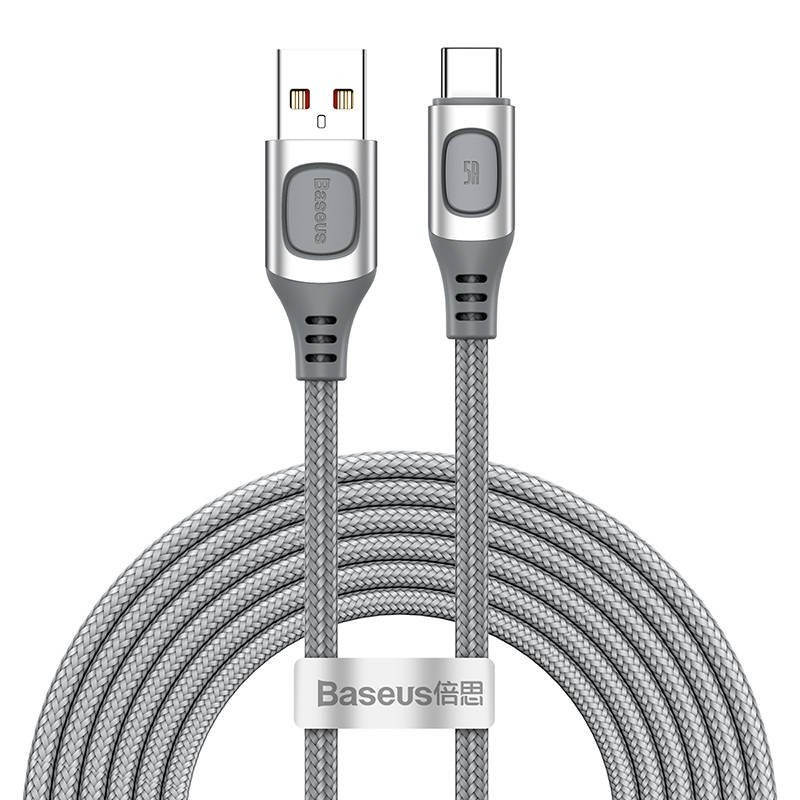 Quick Charge USB-C Baseus Flash, QC 3.0, Huawei SCP, Samsung AFC, 5A, 2m (silver)