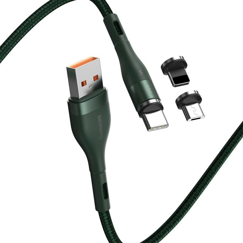 Kabel USB Baseus Fast 4w1 USB do USB-C / Lightning / Micro 3A 1m (zielony)