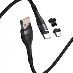 Kabel USB Baseus Fast 4w1 USB do USB-C / Lightning / Micro 3A 1m (szary + czarny)