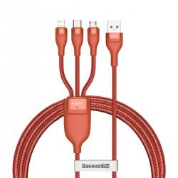 3in1 USB cable Baseus Flash Series, USB-C + micro USB + Lightning, 40W, 5A, 1.2m (orange)
