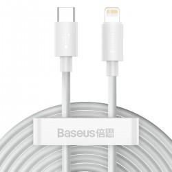 Baseus Simple Wisdom Data Cable Kit USB-C to Lightning PD 20W (2PCS/Set) 1.5m White