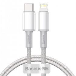 Baseus High Density Braided Cable Type-C to Lightning, PD,  20W, 1m (white)