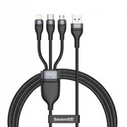 3in1 USB cable Baseus Flash Series, USB-C + micro USB + Lightning, 40W, 5A, 1.2m (black)