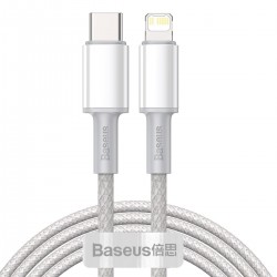 USB-C to Lightning Baseus High Density Braided Cable, 20W, PD, 2m (white)
