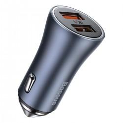 Baseus Golden Contactor Pro car charger, 2x USB, QC SCP, 40W (gray)