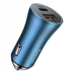 Baseus Golden Contactor Pro car charger, USB + USB-C, QC4.0+, PD, SCP, 40W (blue)