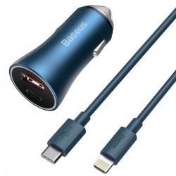 Baseus Golden Contactor Pro car charger, USB + USB-C, QC4.0+, PD, SCP, 40W (blue) + USB-C - Lightning cable 1m (blue)