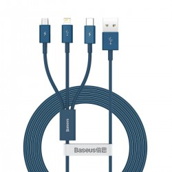 USB cable 3in1 Baseus Superior Series, USB to micro USB / USB-C / Lightning, 3.5A, 1.2m (blue)