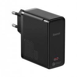 Baseus GaN2 Fast Charger 1C 100W with USB-C cable for USB-C 5A, 1,5m (black)