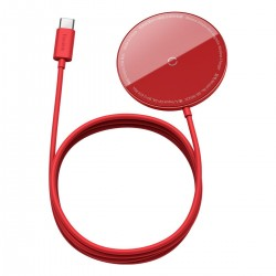 Baseus Simple Mini magnetic induction wireless charger, MagSafe, 15W (red)