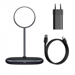 Baseus Swan MagSafe Magnetic Stand with Wireless Charger for iPhone 12 (black) + 24W charger (black)