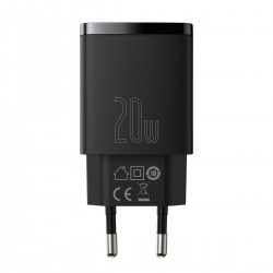 Baseus Compact Quick Charger, USB, USB-C, 20W (black)