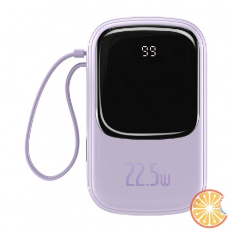 Baseus Q pow Digital Display Power Bank 20000mAh, IP, USB, USB-C, 22.5W with Type-C Cable (morado)