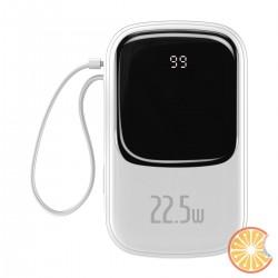 Baseus Q pow Digital Display Power Bank 20000mAh, IP, USB, USB-C, 22.5W with Type-C Cable (white)