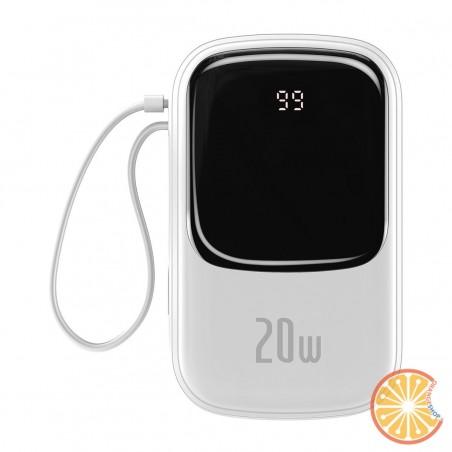 Baseus Q pow Digital Display Power Bank 20000mAh, IP, USB, USB-C, 20W with Lightning Cable (White)
