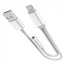 ADAPTER LIGHTNING - 3,5MM/USB white