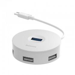 Hub USB-C 4w1 Baseus 15cm Biały